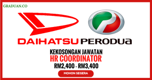Jawatan KosongTerkiniDaihatsu Perodua Engine Manufacturing Sdn Bhd