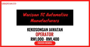 Jawatan KosongTerkini Warisan TC Automotive Manufacturers