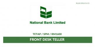 National Bank Limited ~ Front Desk Teller