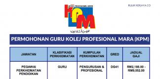 Permohonan Jawatan Guru Kolej Profesional Mara (KPM) di Buka