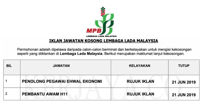 Permohonan Jawatan Kosong Terkini Lembaga Lada Malaysia (MPB)