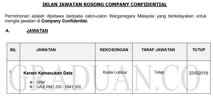 Company Confidential ~ Kerani Kemasukan Data
