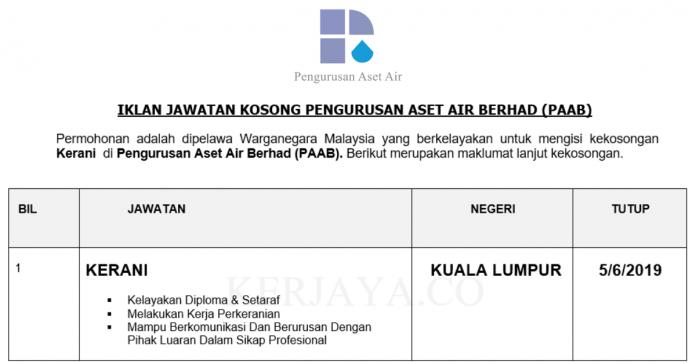 Permohonan Jawatan Kosong Terkini Pengurusan Aset Air Berhad (PAAB)