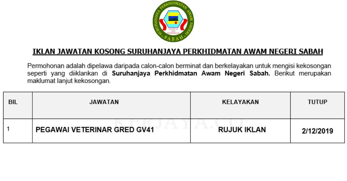 Permohonan Jawatan Kosong Suruhanjaya Perkhidmatan Awam Sabah Portal Kerja Kosong Graduan