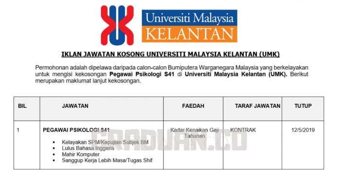 _Jawatan Kosong Universiti Malaysia Kelantan (UMK)