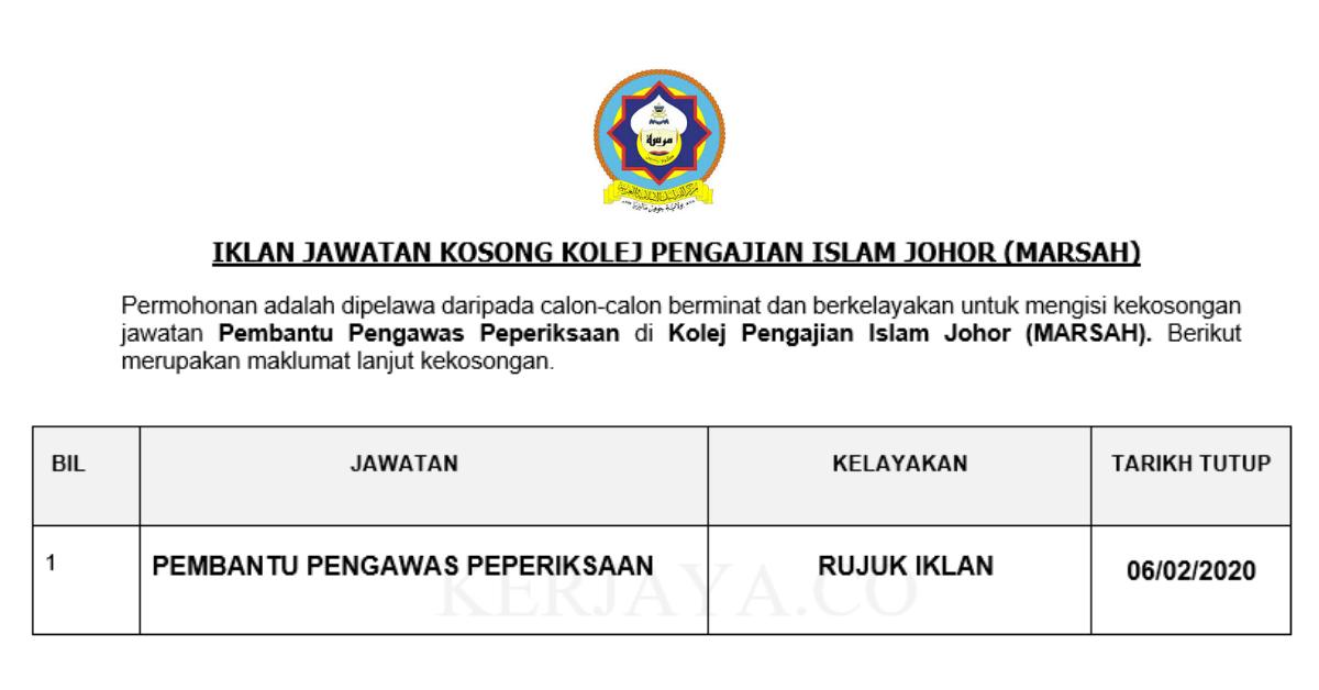 Permohonan Jawatan Kosong Kolej Pengajian Islam Johor Marsah Portal Kerja Kosong Graduan