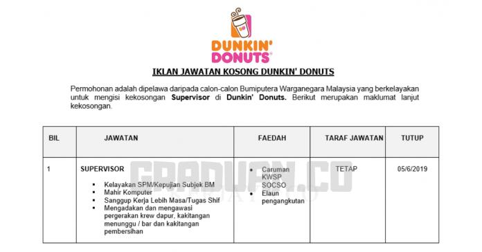_Permohonan Jawatan Kosong Terkini Dunkin' Donuts
