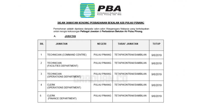 Permohonan Jawatan Kosong Terkini Perbadanan Bekalan Air Pulau Pinang Sdn Bhd