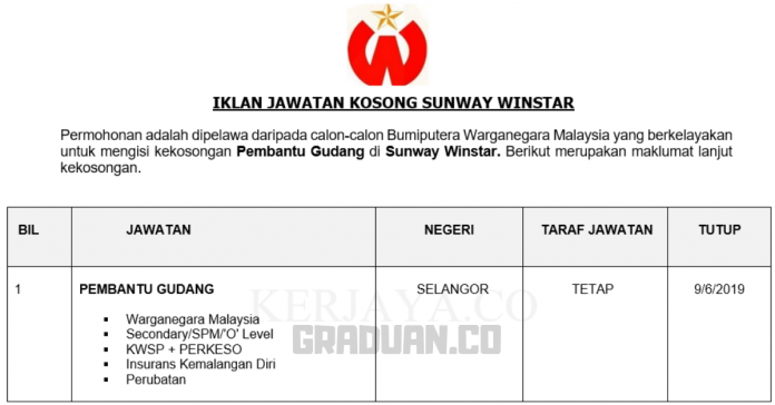 Permohonan Jawatan Kosong Terkini Sunway Winstar _ Pembantu Gudang