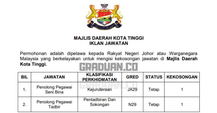 Permohonan Jawatan Kosong Terkini Majlis Daerah Kota Tinggi