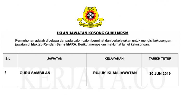 Permohonan Jawatan Kosong Terkini Maktab Rendah Sains Mara (MRSM)