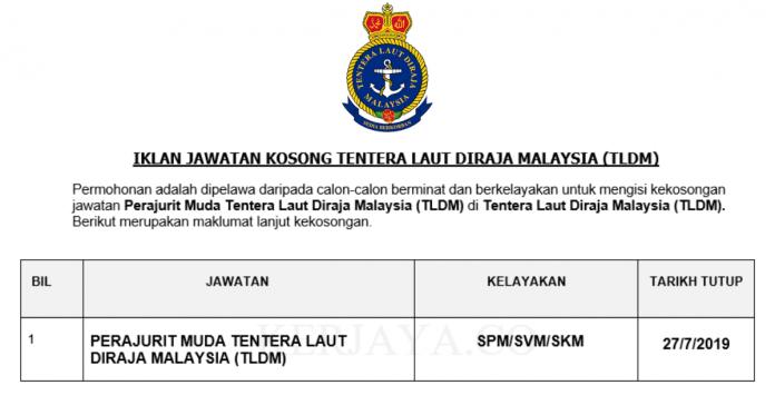 Permohonan Jawatan Kosong Terkini Tentera Laut DiRaja Malaysia (TLDM)