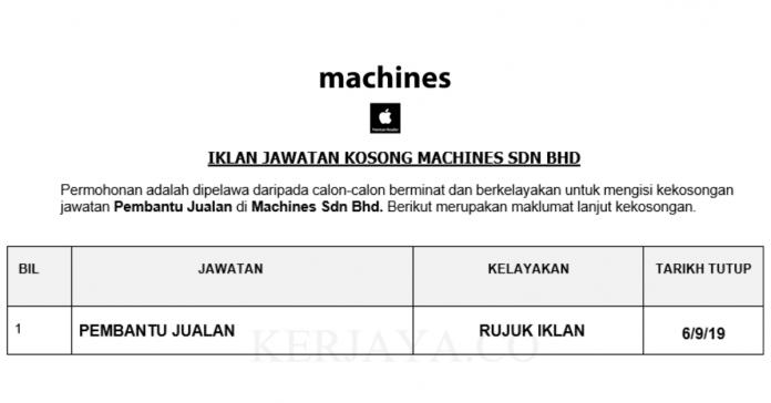 Machines Sdn Bhd _ Pembantu Jualan