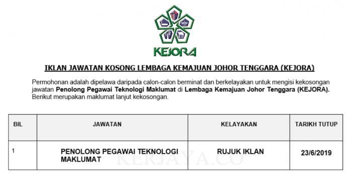 Permohonan Jawatan Kosong Terkini Lembaga Kemajuan Johor Tenggara (KEJORA)
