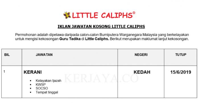 Permohonan Jawatan Kosong Terkini Little Caliphs _ Guru Tadika