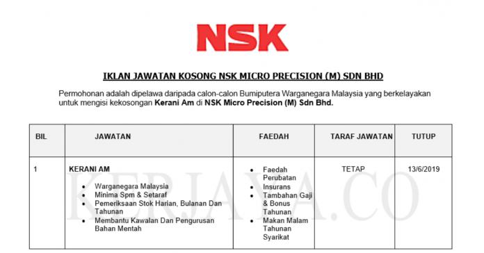 Permohonan Jawatan Kosong Terkini NSK Micro Precision (M)