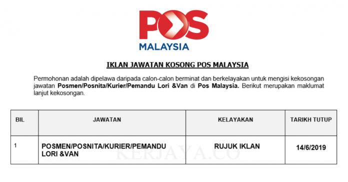 Permohonan Jawatan Kosong Terkini Pos Malaysia