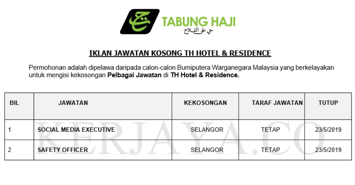 Permohonan Jawatan Kosong Tabung Haji Hotel Residence Portal Kerja Kosong Graduan