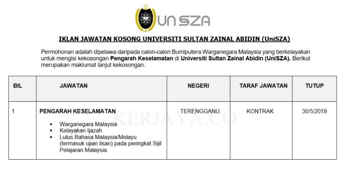 Permohonan Jawatan Kosong Terkini Universiti Sultan Zainal Abidin (UNISZA)
