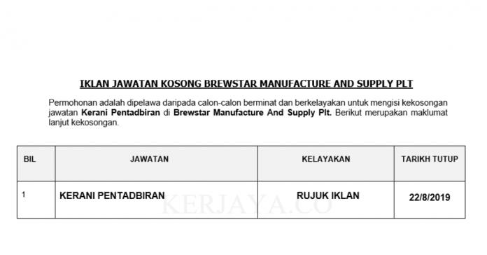 Brewstar Manufacture And Supply Plt