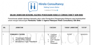 Permohonan Jawatan Kosong Terkini Agensi Pekerjaan Hirelo Consultancy