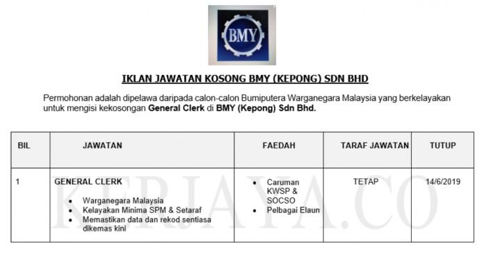 Permohonan Jawatan Kosong Terkini BMY (Kepong) Sdn Bhd