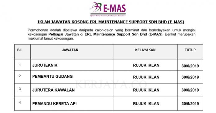 Permohonan Jawatan Kosong Terkini ERL Maintenance Support Sdn Bhd (E-MAS)