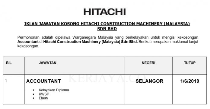 Permohonan Jawatan Kosong Terkini Hitachi Construction Machinery (Malaysia) Sdn Bhd
