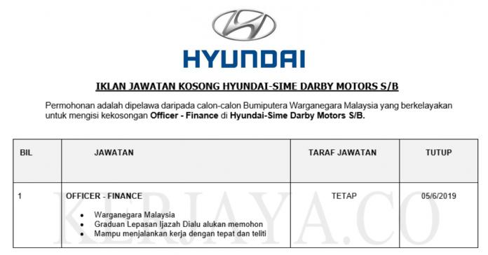 Permohonan Jawatan Kosong Terkini Hyundai-Sime Darby Motors S_B
