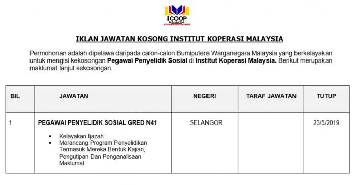 Permohonan Jawatan Kosong Terkini INSTITUT KOPERASI MALAYSIA