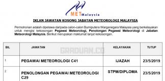 Permohonan Jawatan Kosong Terkini Jabatan Meteorologi Malaysia