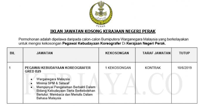 Permohonan Jawatan Kosong Terkini Kerajaan Negeri Perak