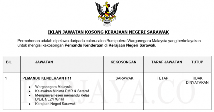 Permohonan Jawatan Kosong Terkini Kerajaan Negeri Sarawak