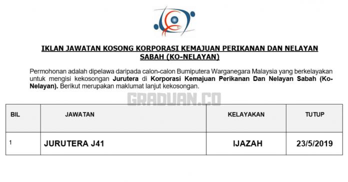 _Permohonan Jawatan Kosong Terkini Korporasi Kemajuan Perikanan Dan Nelayan Sabah (Ko-Nelayan)