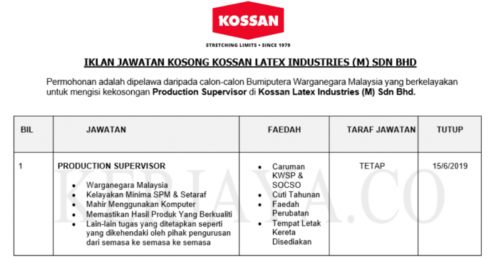 Permohonan Jawatan Kosong Terkini Kossan Latex Industries (M) Sdn Bhd