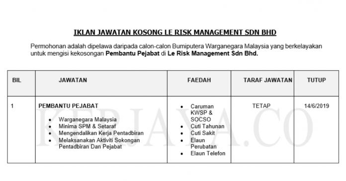 Permohonan Jawatan Kosong Terkini Le Risk Management