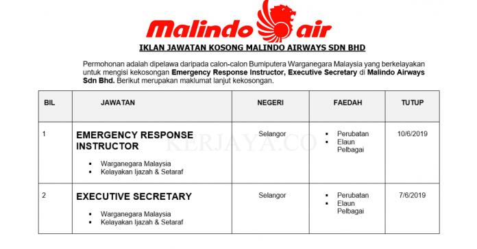 Permohonan Jawatan Kosong Terkini Malindo Airways Sdn Bhd