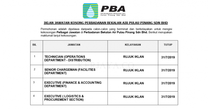 _Permohonan Jawatan Kosong Terkini Perbadanan Bekalan Air Pulau Pinang Sdn Bhd