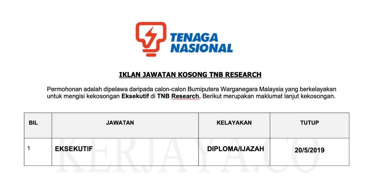 Permohonan Jawatan Kosong Tnb Research Portal Kerja Kosong Graduan