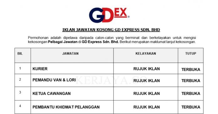 Permohonan Jawatan Kosong Terkini GD Express Sdn Bhd