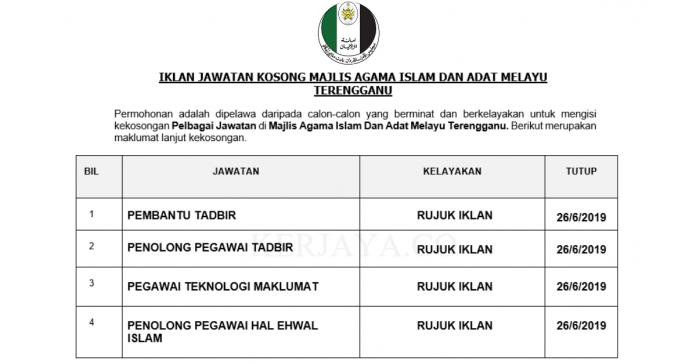 Permohonan Jawatan Kosong Terkini Majlis Agama Islam Dan Adat Melayu Terengganu