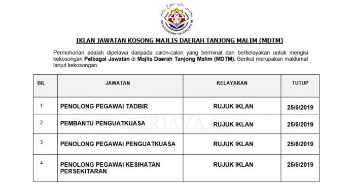 Permohonan Jawatan Kosong Terkini Majlis Daerah Tanjong Malim (MDTM)
