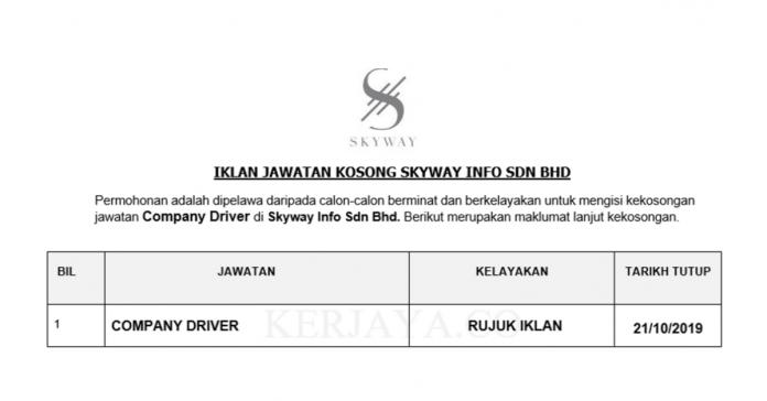 Skyway Info Sdn Bhd _ Company Driver