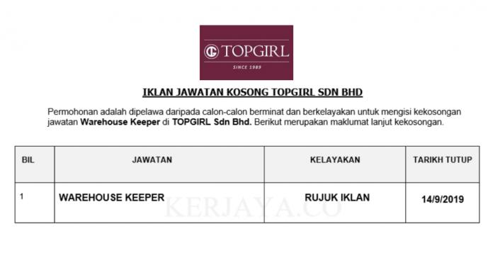 TOPGIRL Sdn Bhd ~ Warehouse Keeper