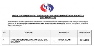 173 kekosongan Jawatan Suruhanjaya Perkhidmatan Awam Malaysia (SPA Malaysia)