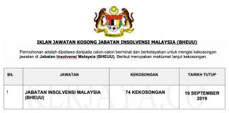 Jawatan Kosong Jabatan Insolvensi Malaysia (BHEUU)