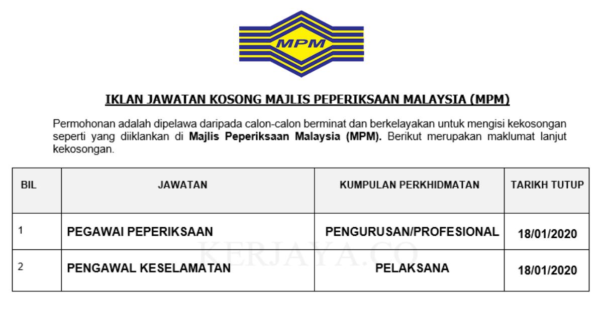 Permohonan Jawatan Kosong Majlis Peperiksaan Malaysia Mpm Portal Kerja Kosong Graduan