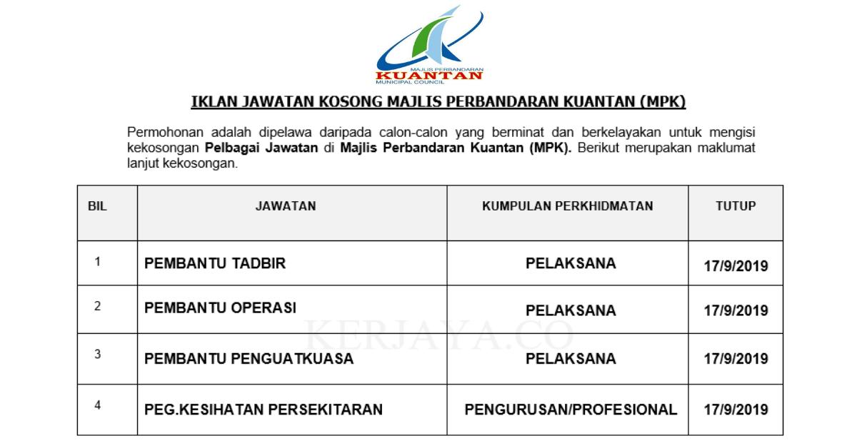 Permohonan Jawatan Kosong Majlis Perbandaran Kuantan Mpk Portal Kerja Kosong Graduan