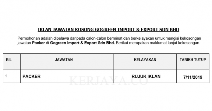 Gogreen Import & Export Sdn Bhd _ Packer