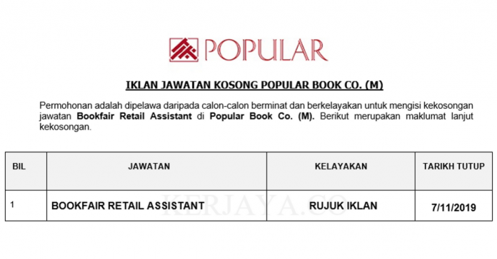 Popular Book Co. (M) _ Bookfair Retail Assistant